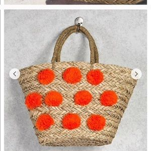F21 pom pom beach bag